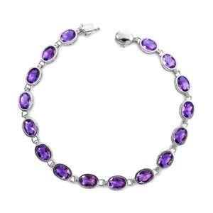 Jewelry - 14 Karat White Gold and Amethyst Ladies Bracelet